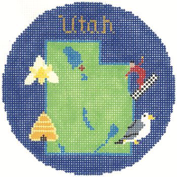 819 UTAH Ornament 4.25 round 18 Mesh Silver Needle Designs