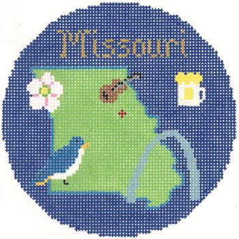 820 Missouri Ornament 4.25 round 18 Mesh Silver Needle Designs