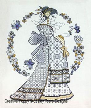 Blackwork Oriental Beauty by Lesley Teare 20-1304