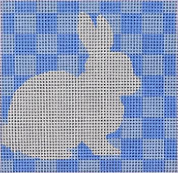 SQ76B Bunny Stencil/Blue 8x8 14 mesh Two Sisters Designs