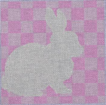 SQ76P Bunny Stencil/Pink 8x8 14 mesh Two Sisters Designs