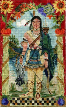 "KCA005-18 Wampanoag Indian Scout 6""w x 10.5""h 18 Mesh With Stitch Guide KELLY CLARK STUDIO, LLC"