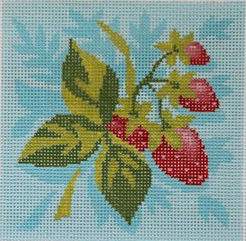 AC083 FRUIT SQUARE: STRAWBERRIES 4x4 18 Mesh Abigail Cecile