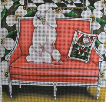 CN-1507 Off the Couch Poodle 10 x 10 18 Mesh Catherine Nolin
