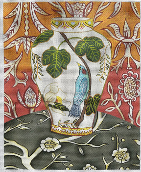 """CN-1513 Chinese Vase 11 x 14"""" 18 mesh By Catherine Nolin"""