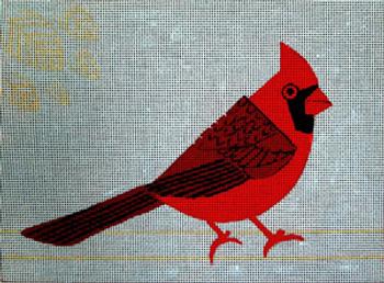 SEE70619 Cardinals 11 x 8 on 18 mesh mono Anna See