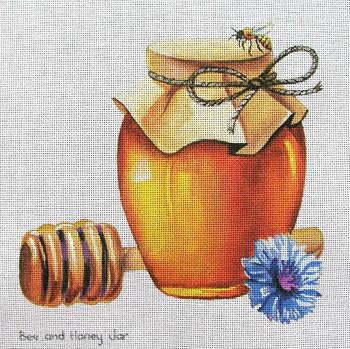 70656 Bee and Honey Jar 8 x 8 13 Mesh Unique New Zealand Designs