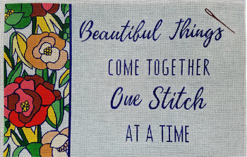 """70671 Beautiful Things Come Together One Stitch At A Time. 16"""" x 10"""" 18 mesh Unique New Zealand Designs Needlepoint"""