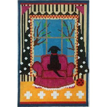 "Dog in the Window, Black (LW-1800A) Design Area:  7"" x 11"" 13 Mesh Prairie Designs Needlepoint"