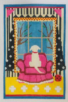"Dog in Window, White (LW-1800B) 13 Mesh  7"" x 11"" Prairie Designs Needlepoint"