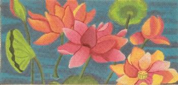 182906 LOTUS GARDEN INSERT - pinks & oranges-- 8.5 x 4 13 Mesh JULIE THOMPSON