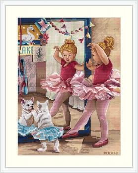 "MK74 The Ballerinas 8.6""X11.8""; Aida, Ecru; 16  Count Merejka Cross Stitch Kit"