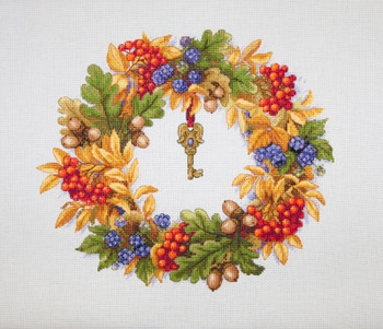 "MK99 Autumn Wreath 11""X9.6""; Aida, White; 16 Count Merejka Cross Stitch Kit"