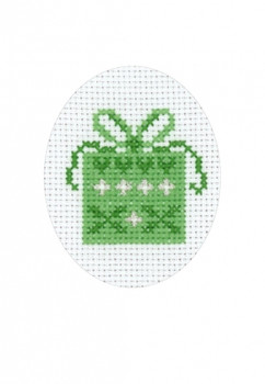 177203 Gift with Hearts - Card Permin Counted Cross Stitch Kit