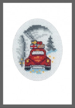 179288 Red Car Card Permin Counted Cross Stitch Kit