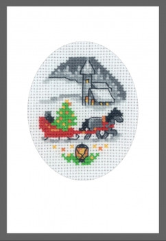 179280 Sleigh Card Permin Counted Cross Stitch Kit
