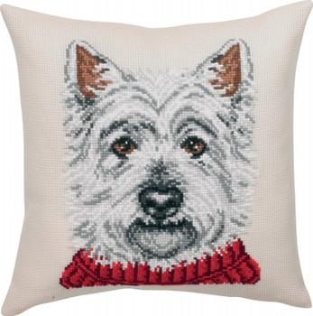 839173 Permin Kit White Terrier Cushion