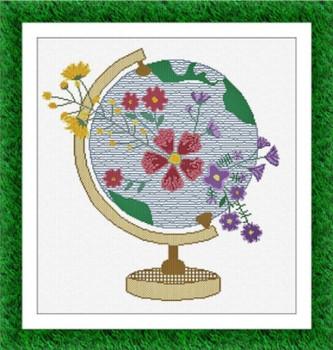 AAN675 Mappamondo (Globe) 201 x 214  Alessandra Adelaide Needleworks