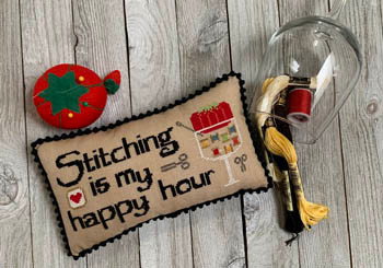 Stitching Is My Happy Hour 51h x 116w by Needle Bling Designs 21-1565