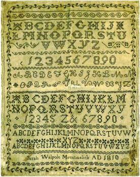 Sarah Walpole 1810 StitchyBox Samplers