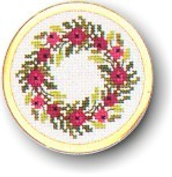 "7746007 Eva Rosenstand Kit Wreath Handbag Mirror 2"" circle; Aida; 18ct"