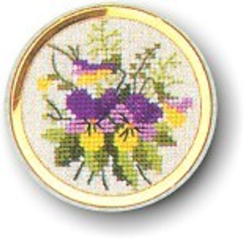 "7746002 Eva Rosenstand Kit Pansy Handbag Mirror 2"" circle; Linen; 30ct"