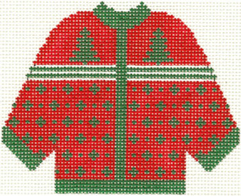670 Red with Green Trees Cardigan Ornament 4.5 x 5.5 13 Count Silver Needle Designs