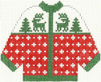 671 Red with Green Reindeer Cardigan Ornament 4.5 x 5.5 13 Count Silver Needle Designs