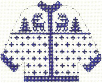 673 Blue Reindeer Cardigan Ornament 4.5 x 5.5 13 Count Silver Needle Designs