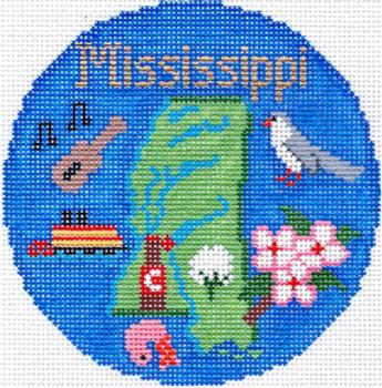 707 Mississippi Ornament 4.25 round 18 Mesh Silver Needle Designs