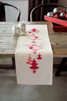 """PNV144712 Vervaco Kit Red Christmas Decorations - Runner 12"""" x 40""""; Prefinished"""