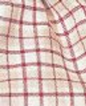 """Fabric Natural/White/Burgandy; Rico - Montpellier; Even Weave; 100% Cotton; Width 71"""""""