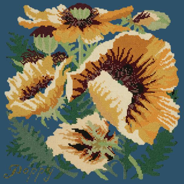 07176731b27 BG18 Yellow Poppy Dark Blue Background Kit Elizabeth Bradley Designs - The  NeedleArt Closet