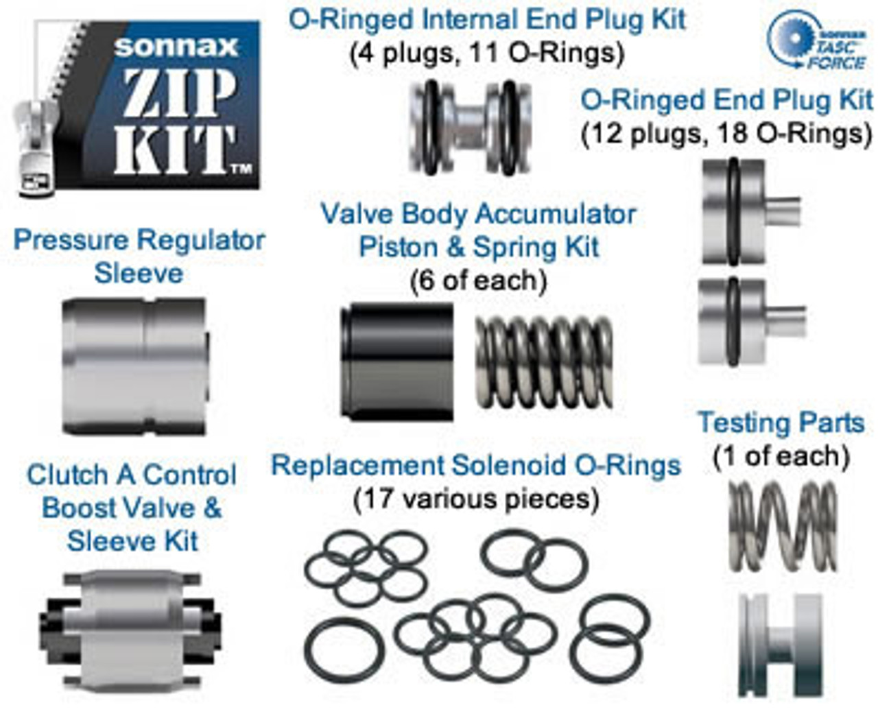 ZF6HP19 ZF6HP26 ZF6HP32 FORD 6R60 6R80 TRANSMISSION VALVE BODY Zip Kit® BY  SONNAX FITS GEN 1 UNITS EXCEPT WITH 053 PLATE