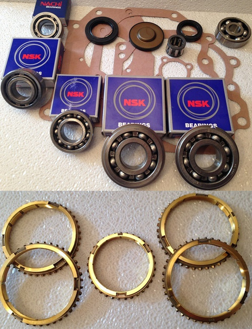 W50 TRANSMISSION REBUILD KIT WITH SYNCHRO RINGS FITS TOYOTA '73-'86 CARS & TRUCKS BK103WS , W50 TRANSMISSION PARTS, W50 REBUILD , W50 OVERHAUL , GEARBOX SPARES,