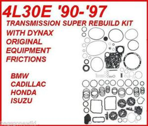 4L30E A4S270R A4S310R TRANSMISSION REBUILD KIT WITH FRICTIONS, STEELS,  PISTONS, FILTER, BUSHINGS FITS '90-'94 BMW & '90-'97 ISUZU & HONDA