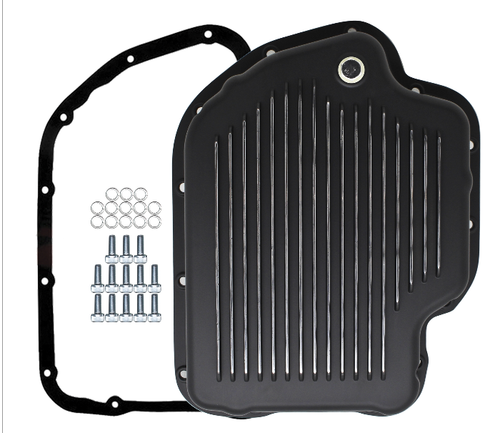 400 TH400 3L80 TRANSMISSION PAN KIT BLACK FINNED ALUMINUM, DEEP, WITH BOLTS, GASKET & PLUG FITS '65-'98 , A34765AA , transmission parts, gearbox, spares, piezas, transmisiones,