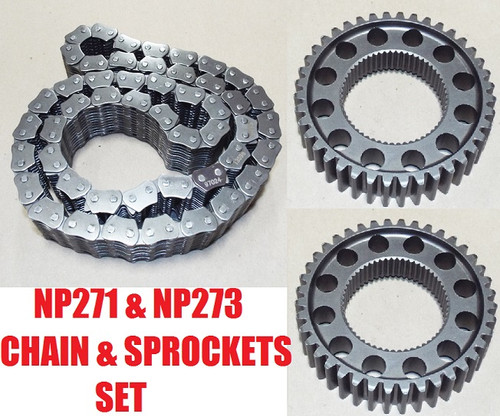NP271 NP273 TRANSFER CASE CHAIN & SPROCKETS KIT Original Equipment, FITS '98+ FORD '03+ DODGE '03+ GM , HV-064K , 21966, MG10-064, HV-064, TRANSFER CASE PARTS, TRANSFER BOX SPARES, 5086328AA  , F81Z-7A029AA , piezas, transferencias,