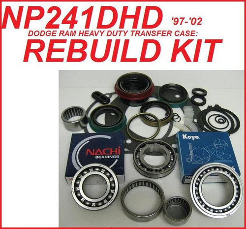 NP241DHD TRANSFER CASE REBUILD KIT FITS '94-'02 DODGE RAM 2500 & 3500 WITH  24mm THICK BD50-8 INPUT BEARING (BK241C)