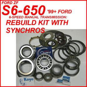ZF S6-650 S6-750 TRANSMISSION REBUILD KIT WITH SYNCHRO RINGS FITS FORD '99+  (BK486WS)