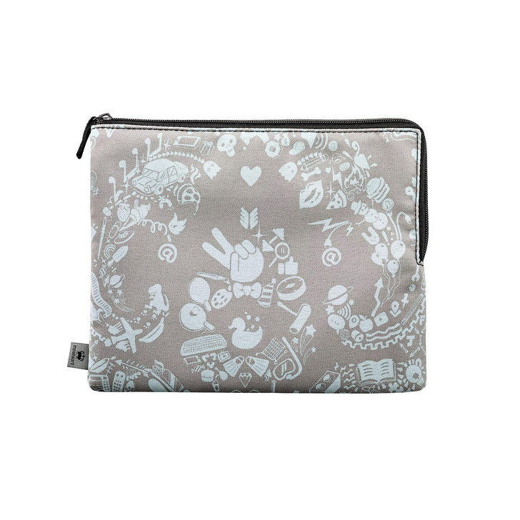 Kirin Young Grey and Blue New World Damask Clutch