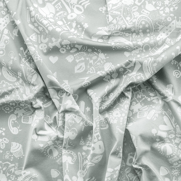 Young and Battaglia New World Damask Printed Fabric - Grey Blue and White