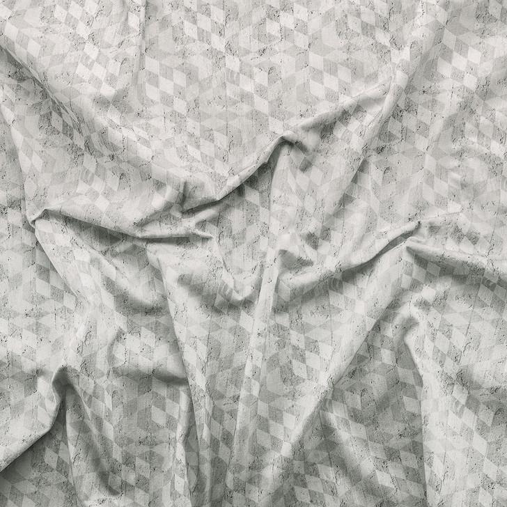 Emanuele Pangrazi Geometric Cubes printed Fabric- Grey