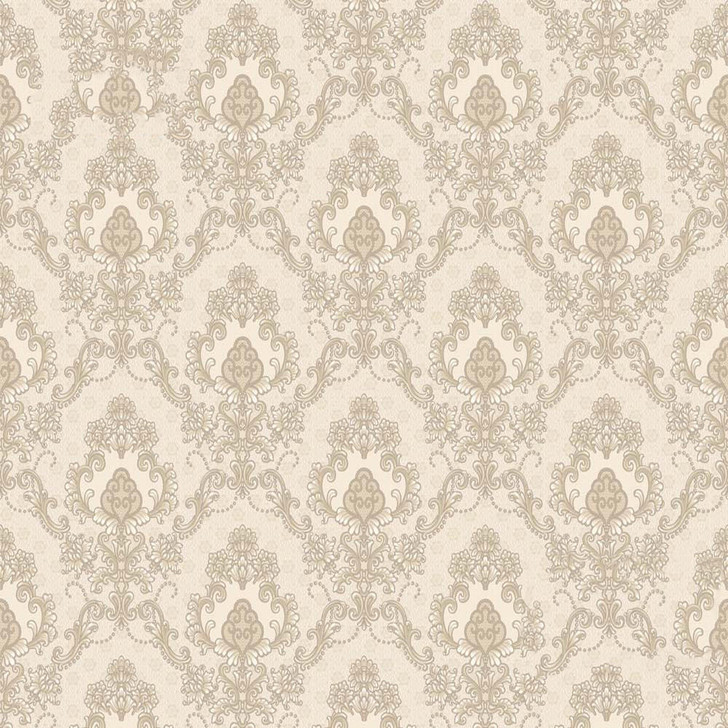 Mineheart Audley Damask Pattern Wallpaper- Warm White