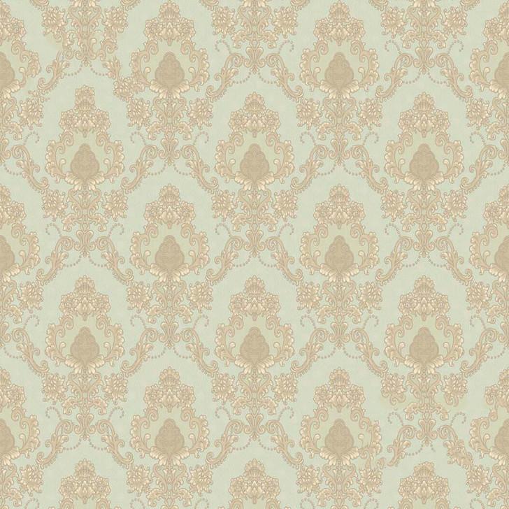 Mineheart Audley Damask Pattern Wallpaper- Mint Green
