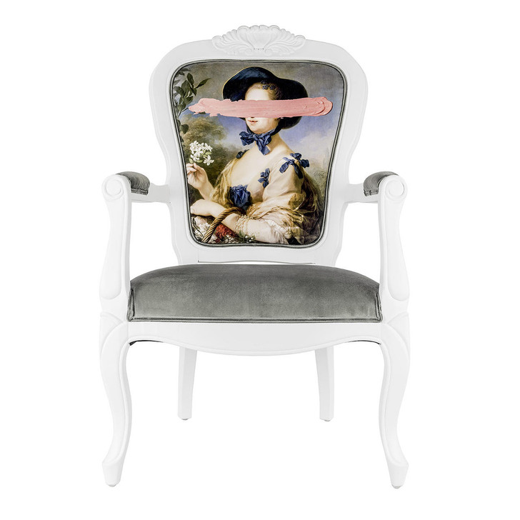 Young and Battaglia Pink mark portrait - printed Armchair