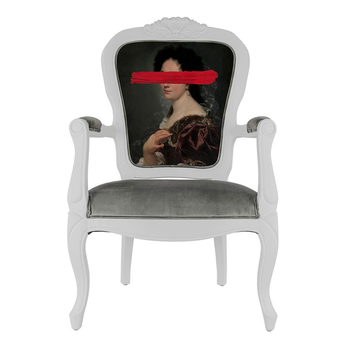 Young and Battaglia Red Mark Portrait - Printed Armchair
