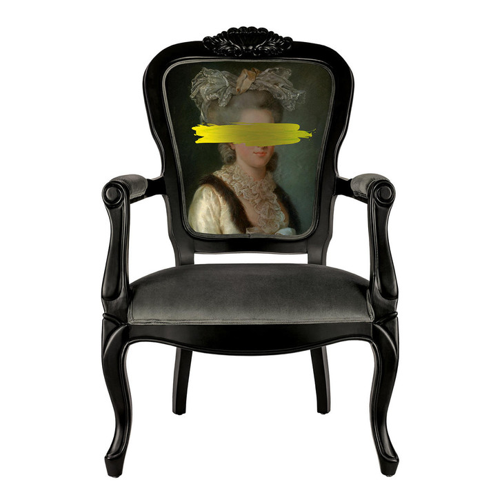 Young and Battaglia Yellow Mark Portrait - Printed Armchair