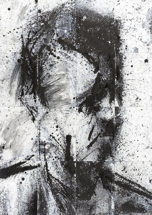 Harry Simmonds Head Of Donald 6 Original Painting Portrait Made With Ink And Acrylic