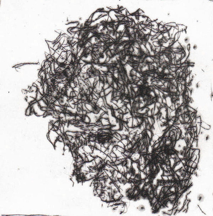 Harry Simmonds Head Of Will Drypoint Etching 3 Original Painting Portrait Made With Ink And Acrylic